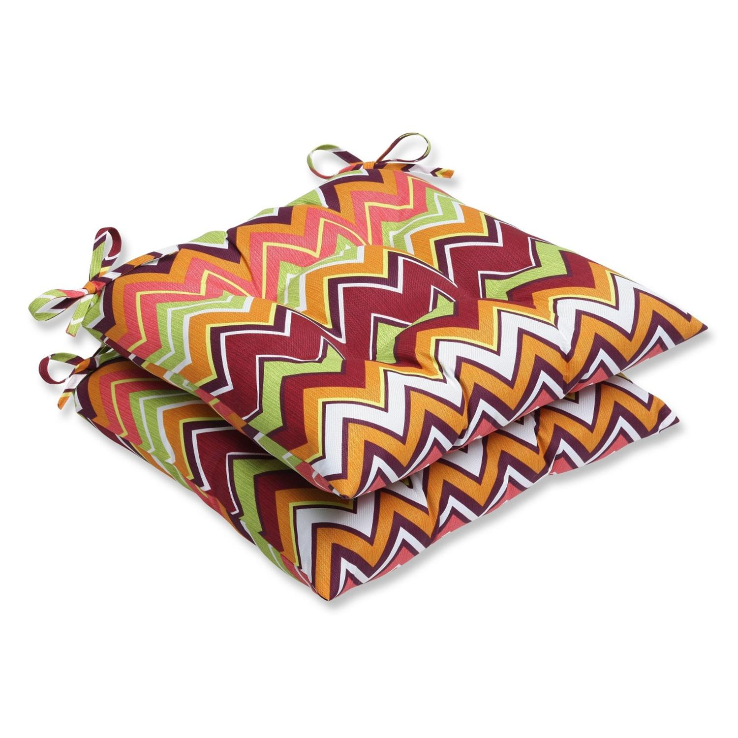 Set Of 2 Chevron Surtido Green, Pink And Orange Outdoor Patio Wrought Iron  Chair Cushions