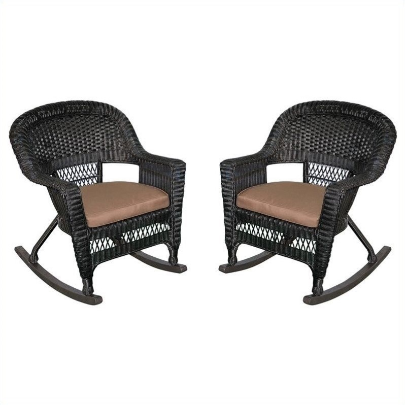 Pemberly Row Wicker Rocker Chair in Black and Brown (Set of 2)