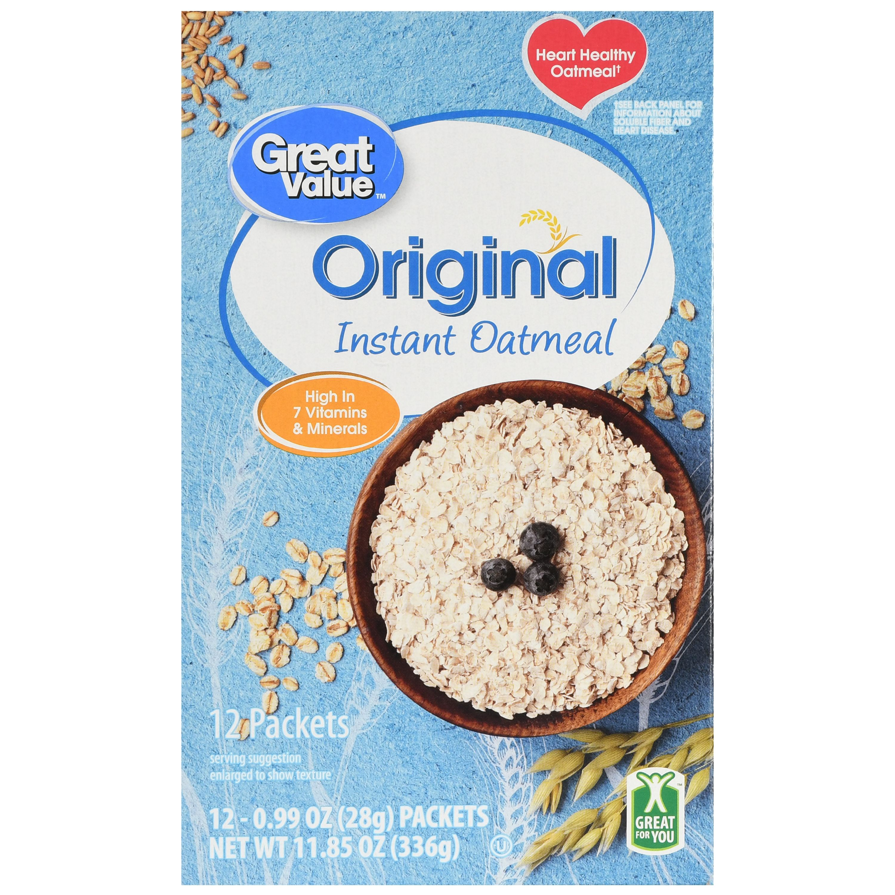 Great Value Instant Oatmeal, Original, 11.85 Oz, 12 Ct