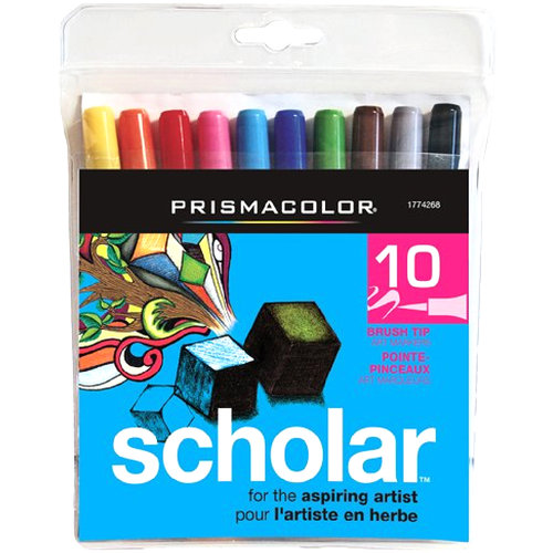 Prismacolor Scholar Brush Tip Water Based Art Markers, 10 Colored Markers