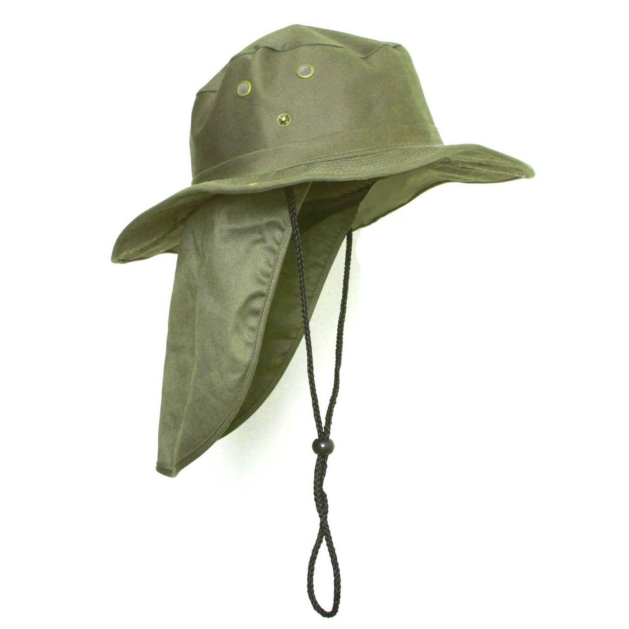 93ca02cc9 Top Headwear Safari Explorer Bucket Hat With Flap Neck Cover - Olive, Medium