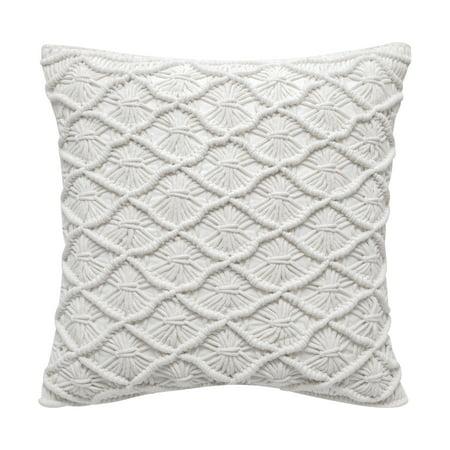 "Better Homes & Gardens Down Alternative Filled Diamond Sunburst Macrame Decorative Throw Pillow, 18""x18"", White"