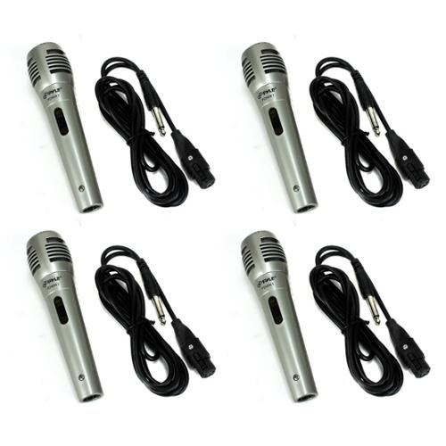 4) PYLE PDMIK1 Professional Moving Coil Dynamic Handheld Microphones Mic + Cable