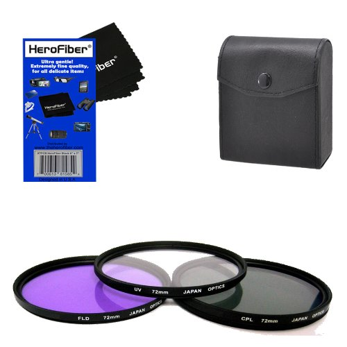 72mm Multi-Coated professional 3 Piece Lens Filter Kit (UV-CPL-FLD) For The Nikon Telephoto Nikkor 180mm f/2.8D AF ED-IF Autofocus Lens with HeroFiber® Ultra Gentle Cleaning Cloth