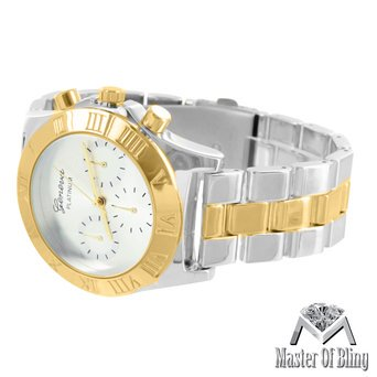 Roman Numeral Dial Watch Mens White Dial 3 Time Zone Geneva Platinum Steel Back