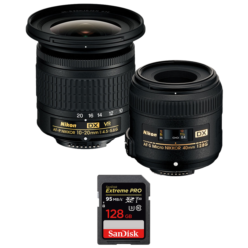 Nikon 13534 Landscape and Macro Two Lens Kit with AF-P DX 10-20mm VR & AF-S DX 40mm Lens + Sandisk Extreme PRO SDXC 128GB UHS-1 Memory Card