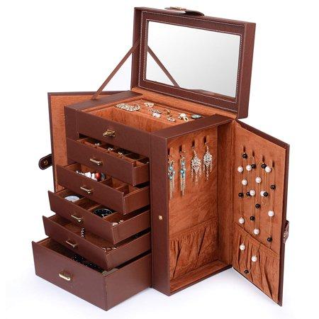Yosoo Jewelry Storage Case,Jewelry Box Organizer Functional Huge Lockable,Jewelry Storage Case for Women Girls with Mirro,Jewelry Case Brown