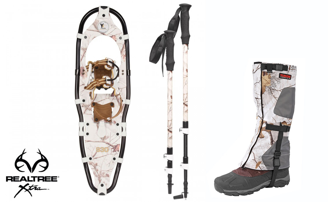 Yukon Charlie's Aluminum Snowshoes(up to 200lbs) Snow Camo w poles& M L gaiters by