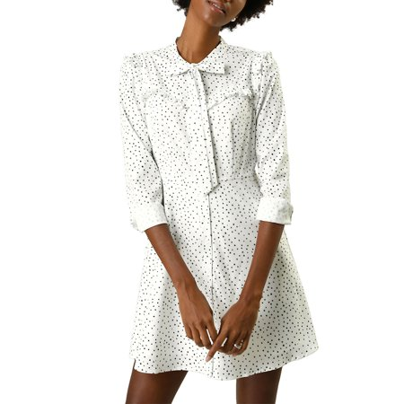 Allegra K Women's Tie Neck Ruffle Button Front Polka Dot Dress (Size M / 10) White