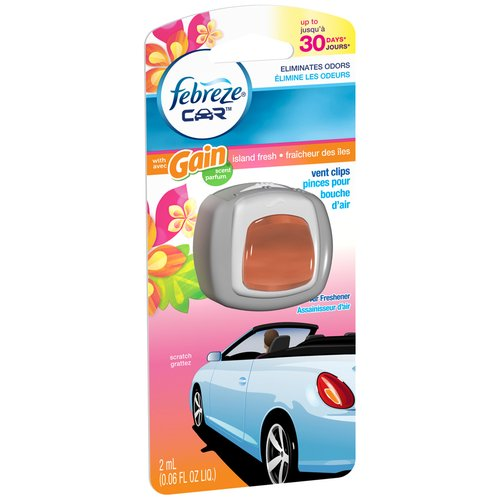 Febreze Car Vent Clips Gain Island Fresh Air Freshener, 0.06 fl oz