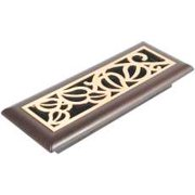 Vine Design Mocha Register, 3 In. X 10 In., Satin Brass