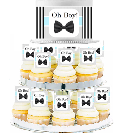Oh Boy!  Edible Photo Toppers  & Edible Cupcake Decoration Kit (Bow Cupcake Decorations)