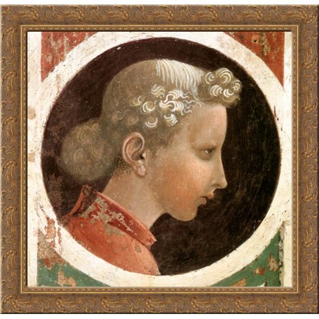 Roundel with Head 20x20 Gold Ornate Wood Framed Canvas Art by Paolo Uccello