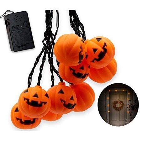 Halloween String Lights, 10 Big 3 Inch Battery Powered Jack o Lantern Blinking Lights with Motion Sensor and Halloween Music, Halloween Decorations. (Pumpkin) ()