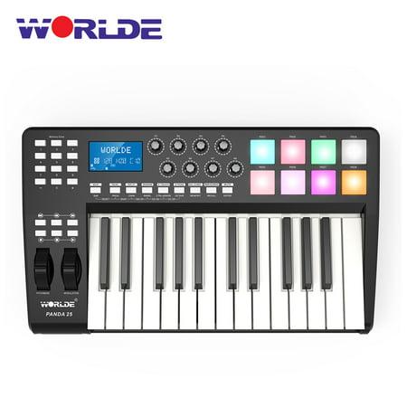 WORLDE PANDA25 Compact 25-Key USB MIDI Keyboard Controller 8 RGB Colorful Backlit Trigger Pads with USB