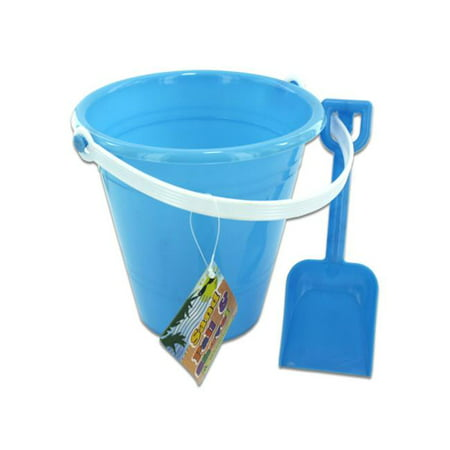 Solid colored beach pail with shovel - Case of 48](Red Beach Pail)