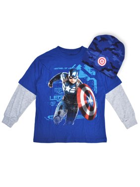 b50cec918062 Product Image Captain America Boys Long Sleeve Shirt   Beanie Set ...