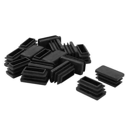 Desk Chair Feet Plastic Rectangle Tube Inserts End Caps Black 16pcs ()
