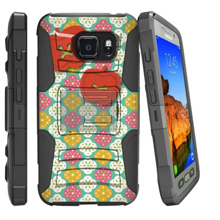 Ladybug Face (Samsung Galaxy [S7-ACTIVE G891/891A Model] Miniturtle® Clip Armor Dual Layer Case Rugged Exterior with Built in Kickstand + Holster - Apple Buttons on)