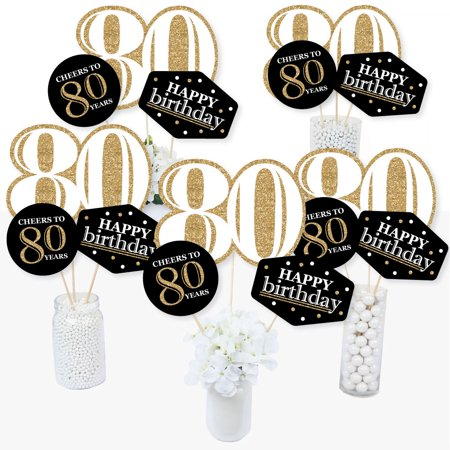 Adult 80th Birthday - Gold - Birthday Party Centerpiece Sticks - Table Toppers - Set of 15 - Quinceanera Centerpieces For Tables