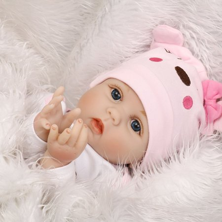 Cute Lovely Girls Realistic Silicone Reborn Newborn Baby Doll Play House Toy - image 4 de 10