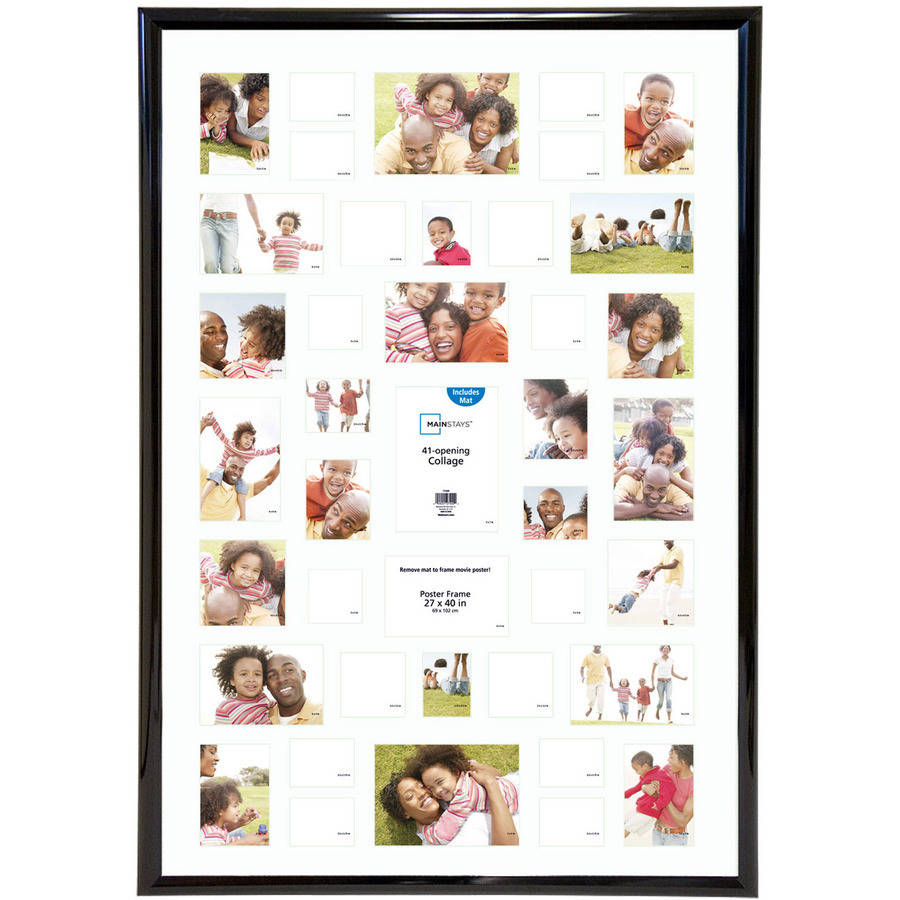 Mainstays 27x40 41-Opening Trendsetter Collage Poster & Picture Frame, Black, Collage