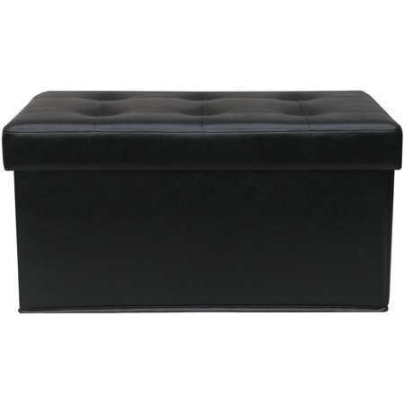 Stupendous Mainstays Collapsible Storage Ottoman Quilted Black Faux Alphanode Cool Chair Designs And Ideas Alphanodeonline