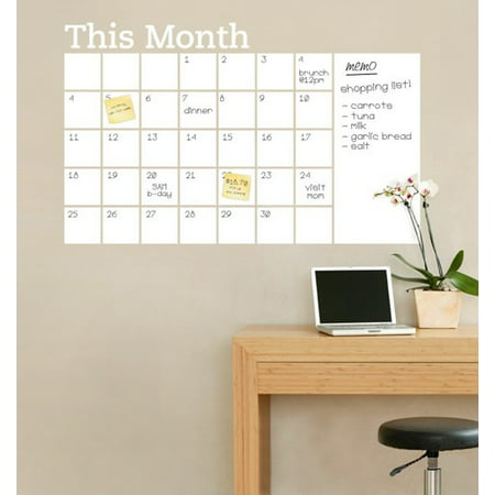 Month Plan Wall Calendar Self-Adhesive Chalkboard Sticker 2019 Planner for Family Activities, Chores, School, Work, White