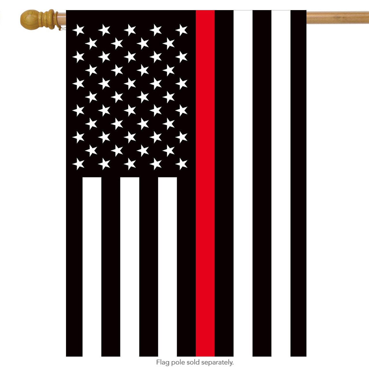 """Thin Red Line House Flag Firefighter Patriotic 28"""" x 50"""" Briarwood Lane"""