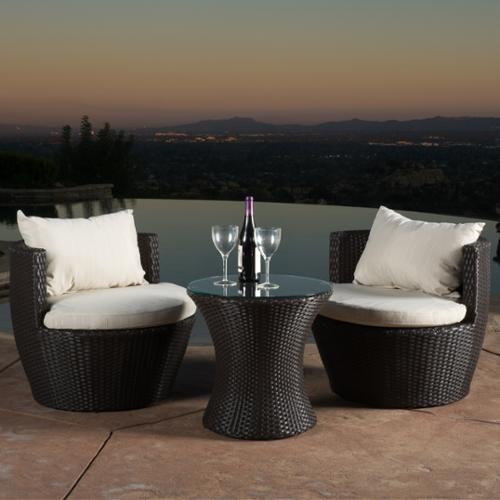 Temecula Brown Wicker 3-Piece Chat Set by GDF Studio