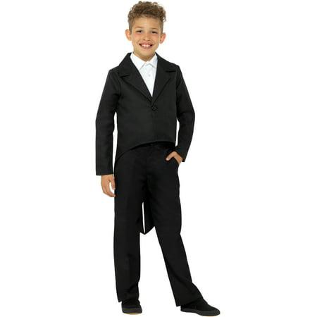 Child's Showman Magician Magic Act Black Tailcoat Jacket Costume