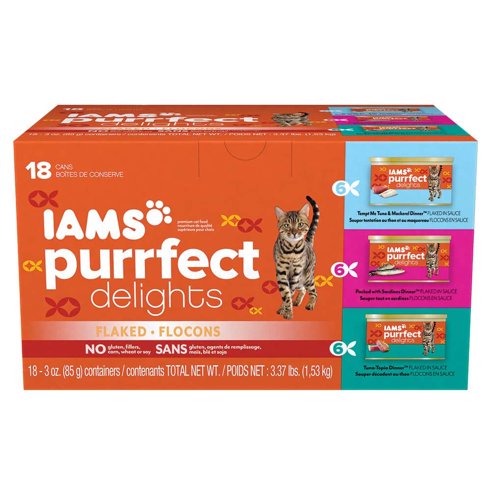 IAMS PURRFECT DELIGHTS Flaked in Sauce Variety Pack Canned Cat Food 3 Ounces (18 Count)