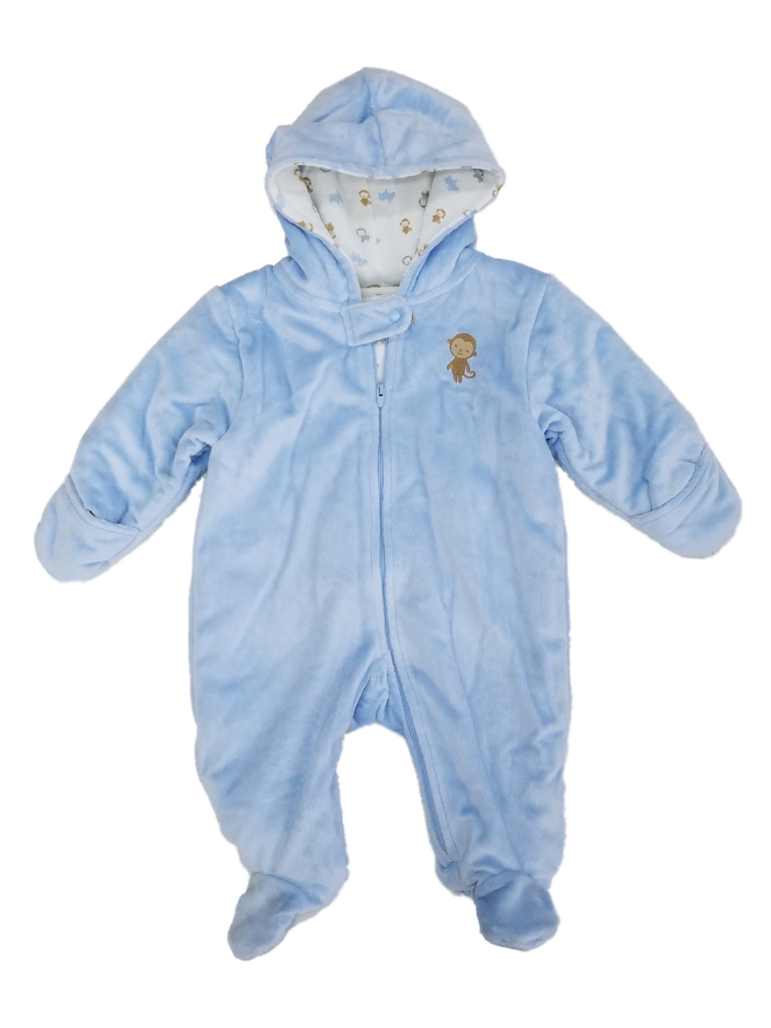 Carters Infant Boys Blue Plush Monkey Pram Baby Bunting Snowsuit
