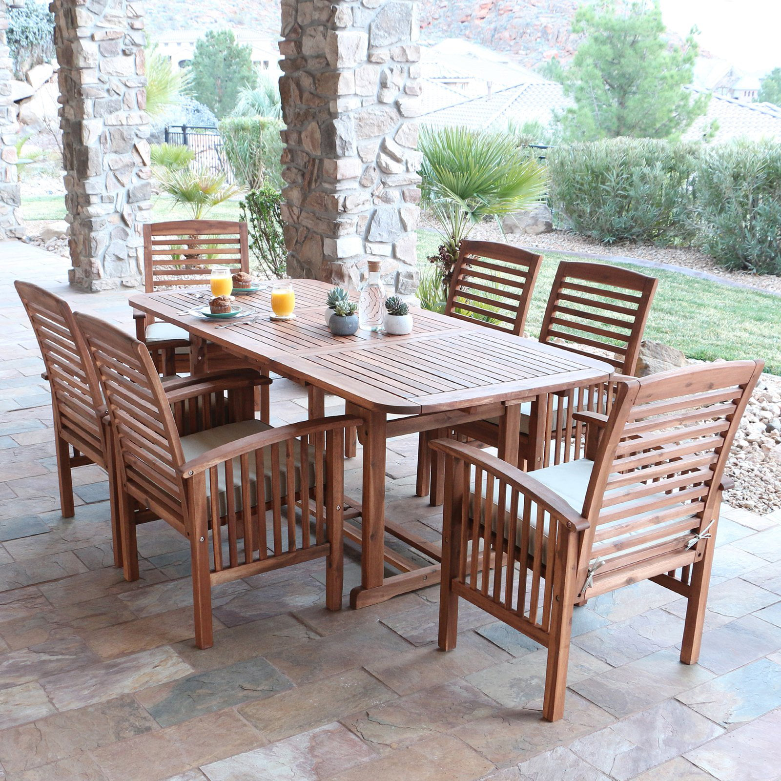 metal furniture set tan dining sling cedar frame with monaco pd piece hanover shop patio outdoor