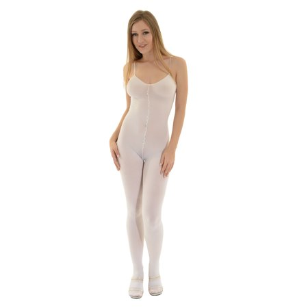 Nylon Bodystockings - Womens One Piece Bodysuit Crotchless Body Stocking Opaque Nude White or Black