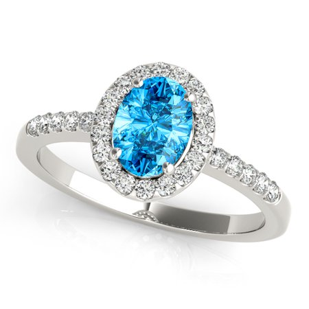 2.45 Ct Diamond & Oval Shaped Blue Topaz Engagement/Wedding Ring - 10K Gold