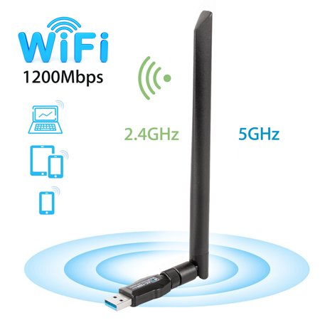 1200Mbps Wireless USB Wifi Adapter,TSV WiFi Adapter for Desktop/Laptop,802.11 ac/a/b/g/n,Dual Band 2.4GHz/300Mbps+5GHz/867Mbps,5 dBi High Gain Antenna WiFi Dongles,Support Windows