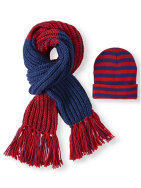 Scoop Knitted Stripe Beanie and Fringe Scarf Gift Set