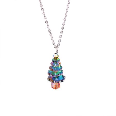 FAGINEY Women Glass Crystal Christmas Tree Pendant Alloy Necklace Jewelry, Jewelry Necklace, Gift Necklace ()