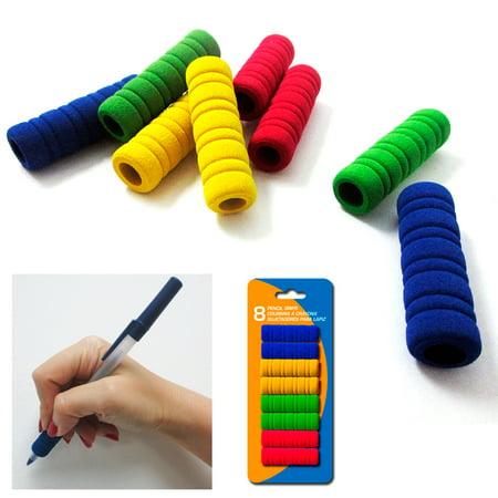 8Pk Groovy Foam Pencil Grips Pen Comfort Soft Sponge Children School Handwriting