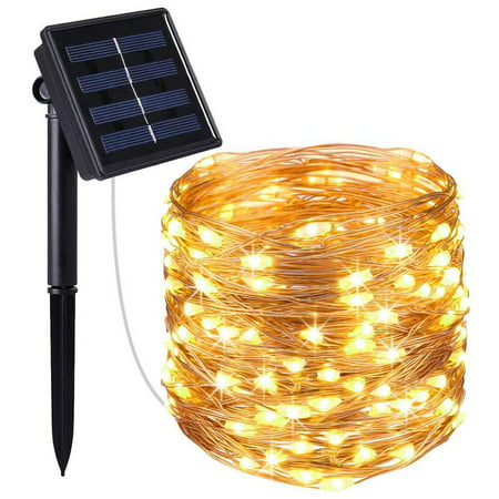 Solite Solar Powered String Lights, 100 LED Copper Wire Lights, Starry String Lights, Indoor/ Outdoor Waterproof Solar Decoration Lights for Gardens, Home, Party Decorative Ornaments (Warm White) ()