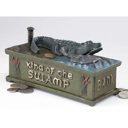 Antique Replica Gator Authentic Foundry Iron Mechanical Bank/gift - Antique Mechanical Banks