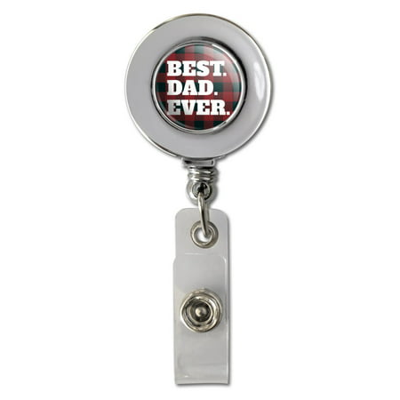 Best Dad Ever Red Black Plaid Retractable Reel Chrome Badge ID Card Holder