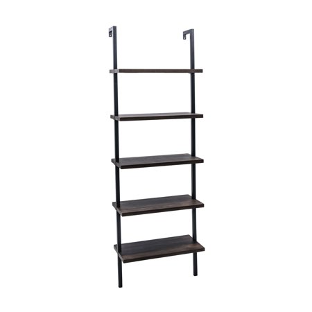 Theo 5-Shelf Ladder Bookcase, Dark Brown Wood Shelving w/ Black Metal Frame