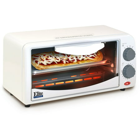 Elite Cuisine ETO 113 2 Slice Toaster Oven With Broiler And Timer White