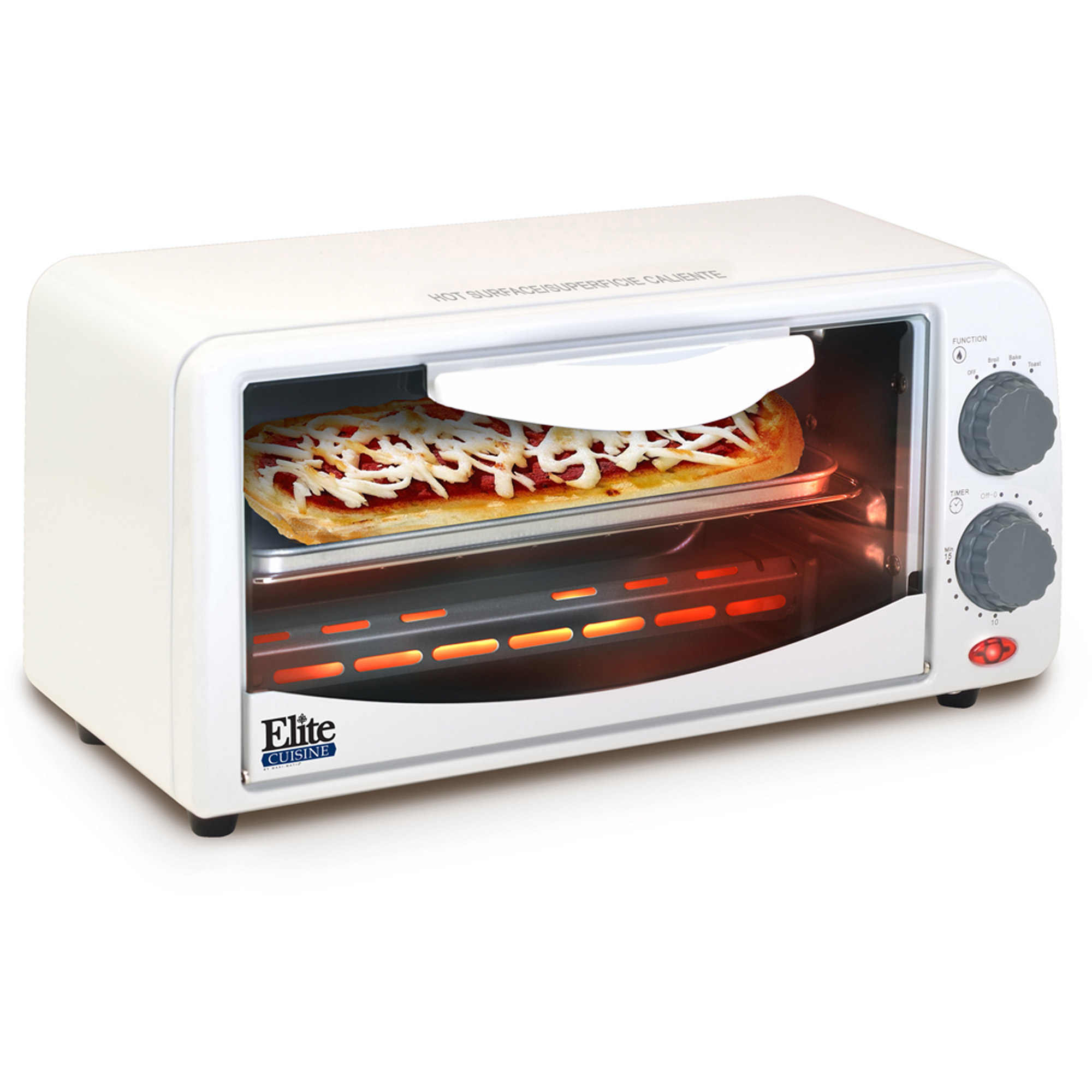 Elite Cuisine ETO-113 2-Slice Toaster Oven with Broiler and Timer, White