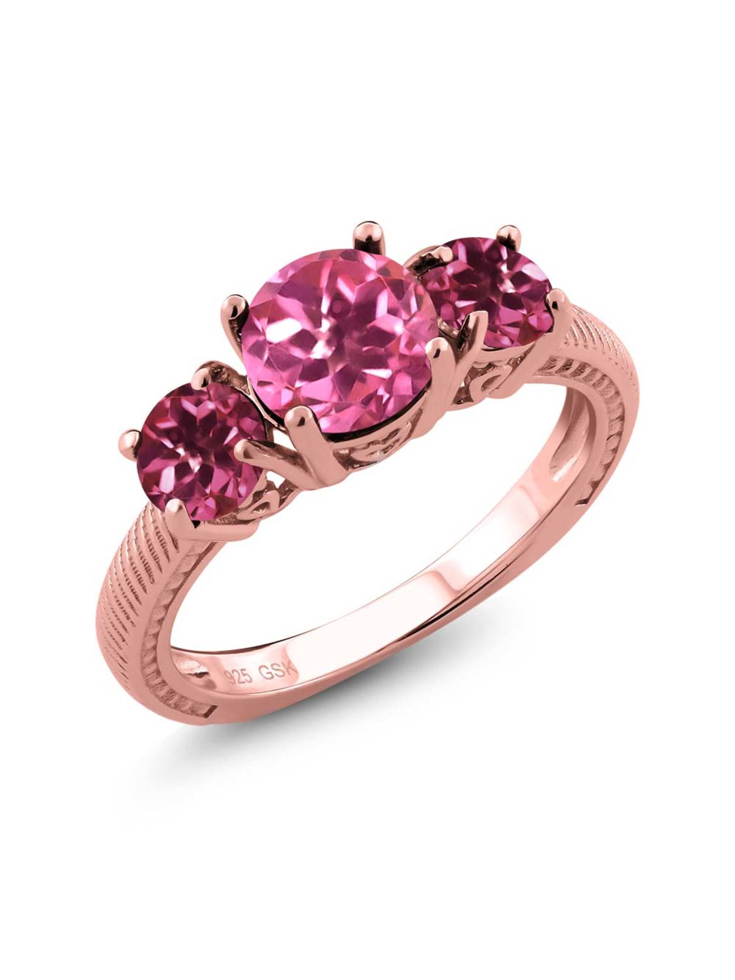 2.30 Ct Round Pink Mystic Topaz Pink Tourmaline 18K Rose Gold Plated Silver 3 Stone Ring by