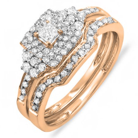 Dazzlingrock Collection 0.55 Carat (ctw) 10k Princess & Round Diamond Ladies Engagement Ring Set 1/2 CT, Rose Gold, Size 6