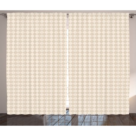 Miraculous Shabby Chic Curtains 2 Panels Set Retro Geometric Checked Pattern Diagonal Rhombus Tile Pastel Colored Design Window Drapes For Living Room Bedroom Download Free Architecture Designs Xerocsunscenecom
