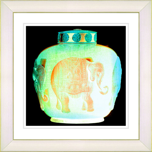 Studio Works Modern 'Alabaster Elephant Urn' by Zhee Singer Framed Painting Print in Green/Yellow